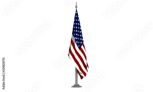 Fotografie, Obraz USA Flag hanging on pole