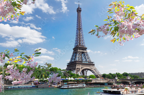 Printed kitchen splashbacks Europa eiffel tour over Seine river