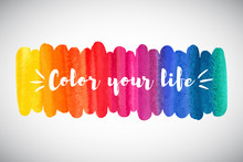 Watercolor Vector Rainbow Bord...