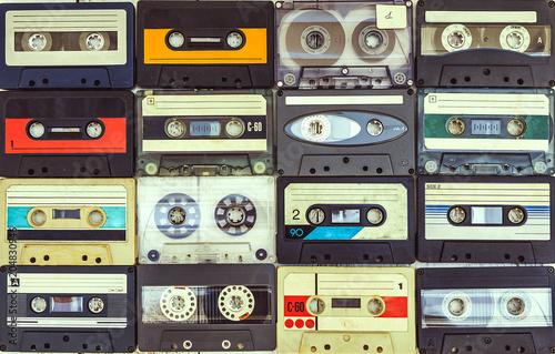 Fotografía  collection of various vintage audio cassettes