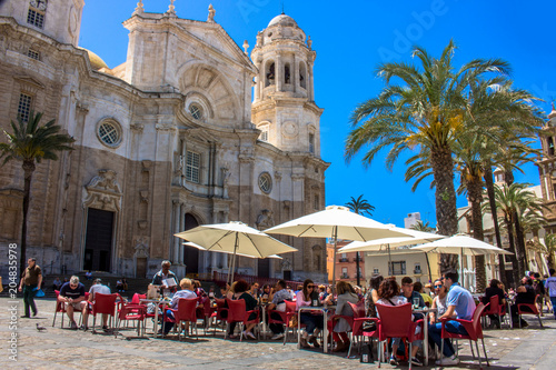 Cadiz Cathedral. A sunny day in Cadiz. Andalusia, Spain. Picture taken – 6 may 2018.