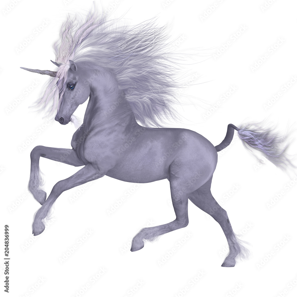 White Unicorn Prancing - A Unicorn is a mythical creature that has a white coat, cloven hooves, goat beard and forehead horn.