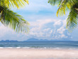Palm leaves on summer beach background.