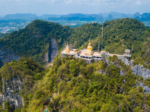 Poster Luchtfoto Aerial view of Tiger Cave Temple or Wat Thum Sua at Krabi province, Thailand