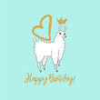 Cute Lama with crown and wings. Perfect for posters, greeting cards, invitations, children room decor stickers, greeting cards, notebooks and other childish accessories. Hand drawn style
