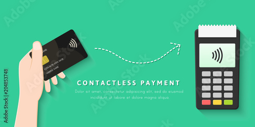 Paying with contactless card concept in flat design. POS terminal and transaction with NFC technology.