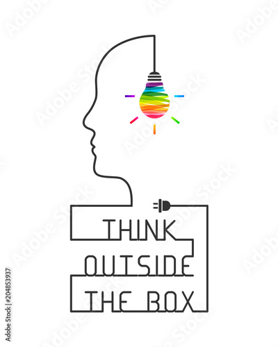Carta da parati Think outside the box concept with saying and colorful lightbulb