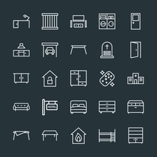 Modern Simple Set Of Buildings, Furniture, Housekeeping Vector Outline Icons. Contains Such Icons As House,  Double,  Modern,  Office, Table And More On Dark Background. Fully Editable. Pixel Perfect.