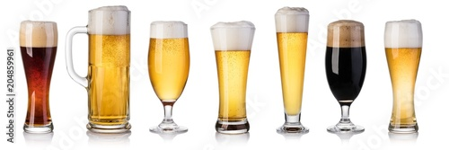 Poster Biere, Cidre set of beer Glass