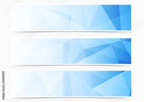 Fototapeta Modern web blue crystal pattern header collection set obraz