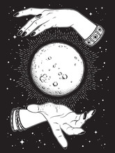 Hand Drawn Full Moon With Rays Of Light In Hands Of Fortune Teller Line Art And Dot Work. Boho Chic Tattoo, Poster Or Altar Veil Print Design Vector Illustration.