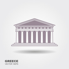 Greek Parthenon Icon Isolated ...