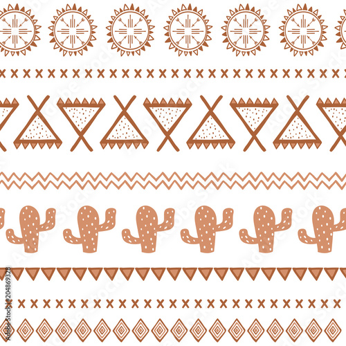 Foto auf AluDibond Boho-Stil Vector tribal ethnic seamless pattern. Aztec abstract background. Mexican ornament texture in coffee brown color
