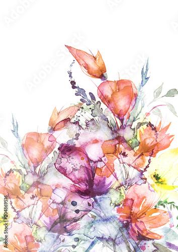 Akwarela bukiet kwiaty, Piękny abstrakcjonistyczny pluśnięcie farba, mody ilustracja. Kwiaty orchidei, maku, chaber, czerwony mieczyk, piwonia, róża, pole lub ogród kwiaty. Na białym tle.
