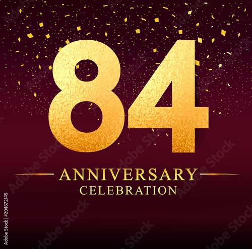 Fotografia  84 years anniversary logo with golden and on dark pink background, vector design for invitation card, greeting card