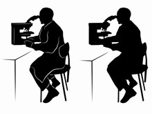 Silhouette Of A Scientist With...