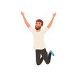 Joyful bearded man in jumping action with hands up. Cartoon character of young guy with happy face expression. Flat vector design