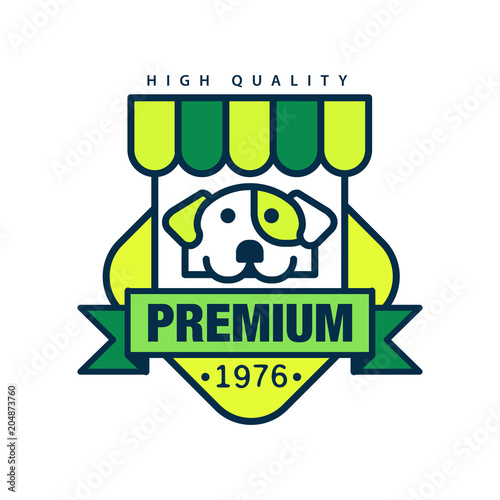 Fotografering  Premium high quality since 1976 logo template design, green badge for company id