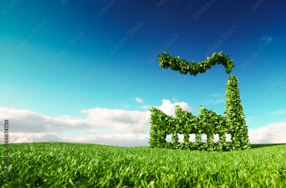 Fototapety, obrazy: Eco friendly industry concept. 3d rendering of green factory icon on fresh spring meadow with blue sky in background.