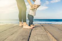 Baby Boy Walking On The Beach ...