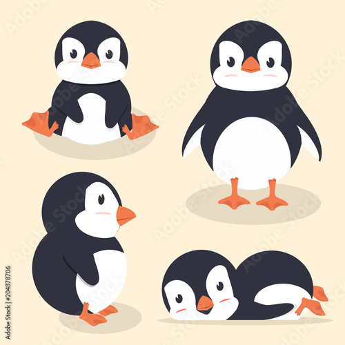Fototapeta premium Ładny mały pingwin wektor zestaw