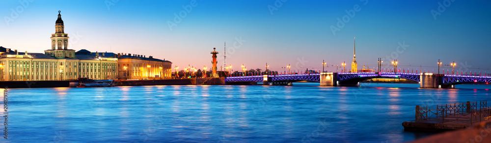Fototapety, obrazy: View ti Saint Peterburg at night. City panorama after sunset with beautiful illumination