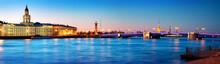 View Ti Saint Peterburg At Night. City Panorama After Sunset With Beautiful Illumination