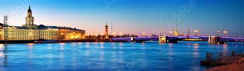 Poster Historisch geb. View ti Saint Peterburg at night. City panorama after sunset with beautiful illumination