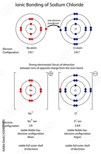 Photo Diagram to show ionic bonding in sodium chloride