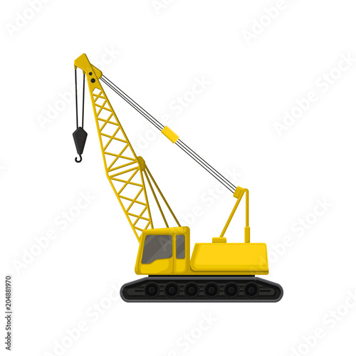 Flat vector icon of yellow crane on crawler tracks фототапет