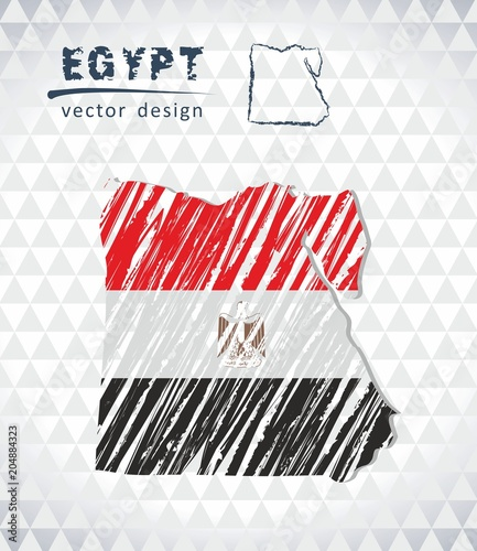 Staande foto Afrika Egypt vector map with flag inside isolated on a white background. Sketch chalk hand drawn illustration