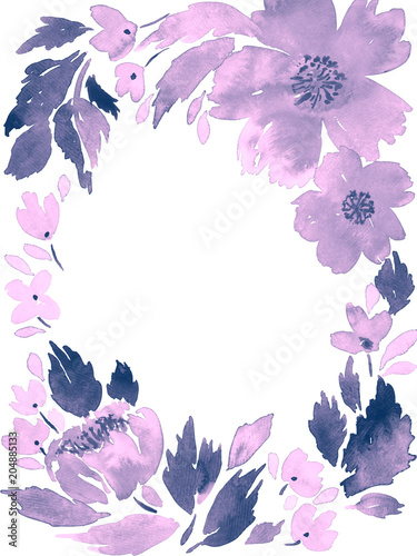 Watercolor loose flowers. Floral frame arrangement template in ...