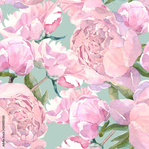 Shabby chic vintage peony seamless pattern, classic floral repeat background for web and print. Watercolor hand drawing. Romantic design for natural cosmetics, perfume, women products. Can be used as
