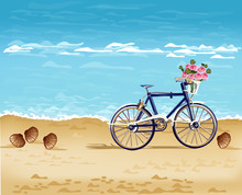 Bicycle On The Beach Card Vect...