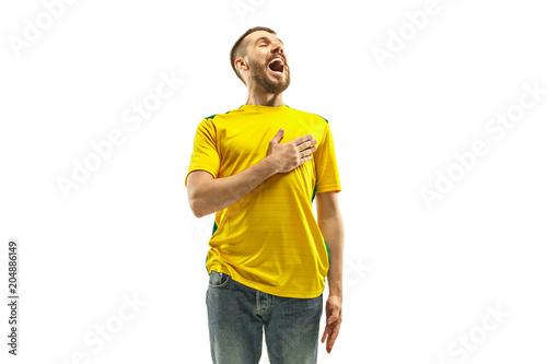 Cuadros en Lienzo Brazilian fan celebrating on white background