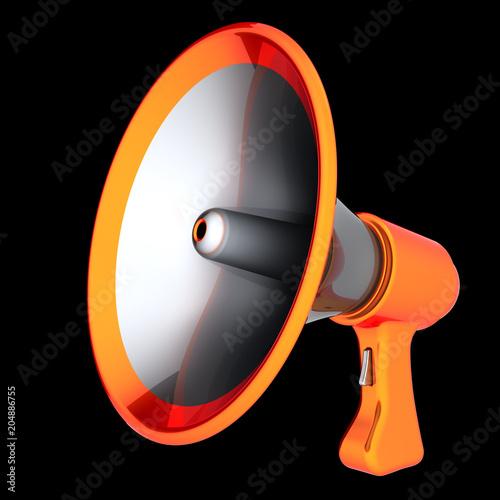 Megaphone news blog loudspeaker communication bullhorn orange megaphone news blog loudspeaker communication bullhorn orange message announcement icon concept 3d illustration publicscrutiny Gallery