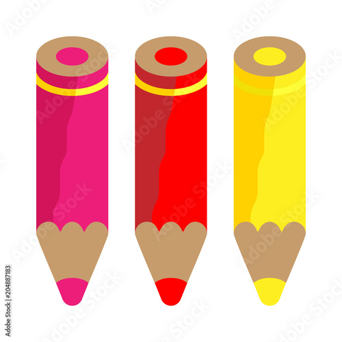 Set Of Three Color Pencils Warm Colors Pink Red Yellow Vector Isolated Object