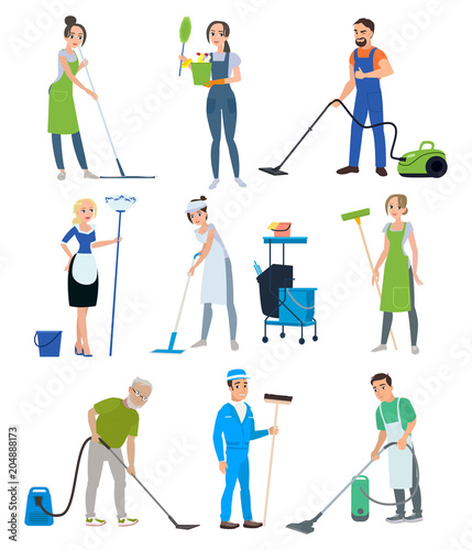 Set Of Cleaning Company Staff With A Vacuum Cleaner Shfabroy Trash Can