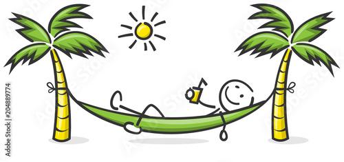 Fotografija  Strichfigur liegt in der Hängematte mit Sonne und Palmen