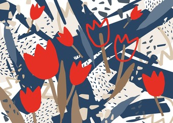 NaklejkaAbstract background with stylized red blooming tulip flowers. Unusual colorful horizontal backdrop with natural decorations. Creative decorative vector illustration in contemporary art style.