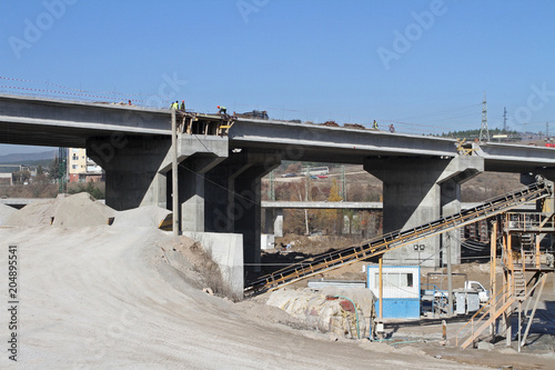 New highway under construction  A new bridge freeway made of
