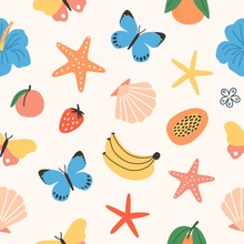 Seamless Pattern With Summer Tropical Fruits, Butterflies, Exotic Flowers, Seashells, Starfish On White Background. Flat Colorful Vector Illustration For Fabric Print, Wrapping Paper, Backdrop