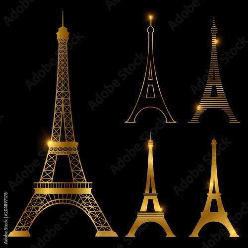 Obraz Different golden eiffel tower vector landmark set. Paris symbol icons - fototapety do salonu