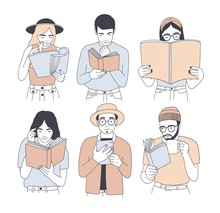 Collection Of Portraits Of Men And Women Reading Paper And Electronic Books Isolated On White Background. Set Of Young Male And Female Readers Dressed In Trendy Clothes. Cartoon Vector Illustration.