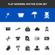 Modern, simple vector icon set with delivery, king, fluffy, store, banner, wand, queen, cut, mailbox, clothes, fork, sale, add, shop, restaurant, royal, bear, cute, gardening, fashion, post, toy icons