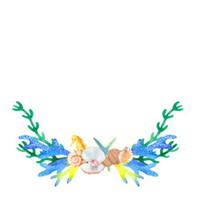 Sea Wreath With Watercolor. Wr...