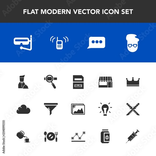 Photo Modern, simple vector icon set with message, water, hipster, mask, research, sno