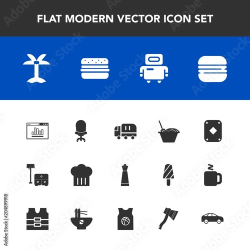 Modern, simple vector icon set with armchair, website, king