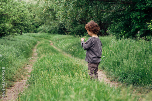 Photo sur Toile Olive Cheerful little boy play with grass on country road in forest. Back view of adorable curly toddler