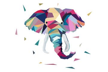 Pokoloruj słonia. w stylu low poly
